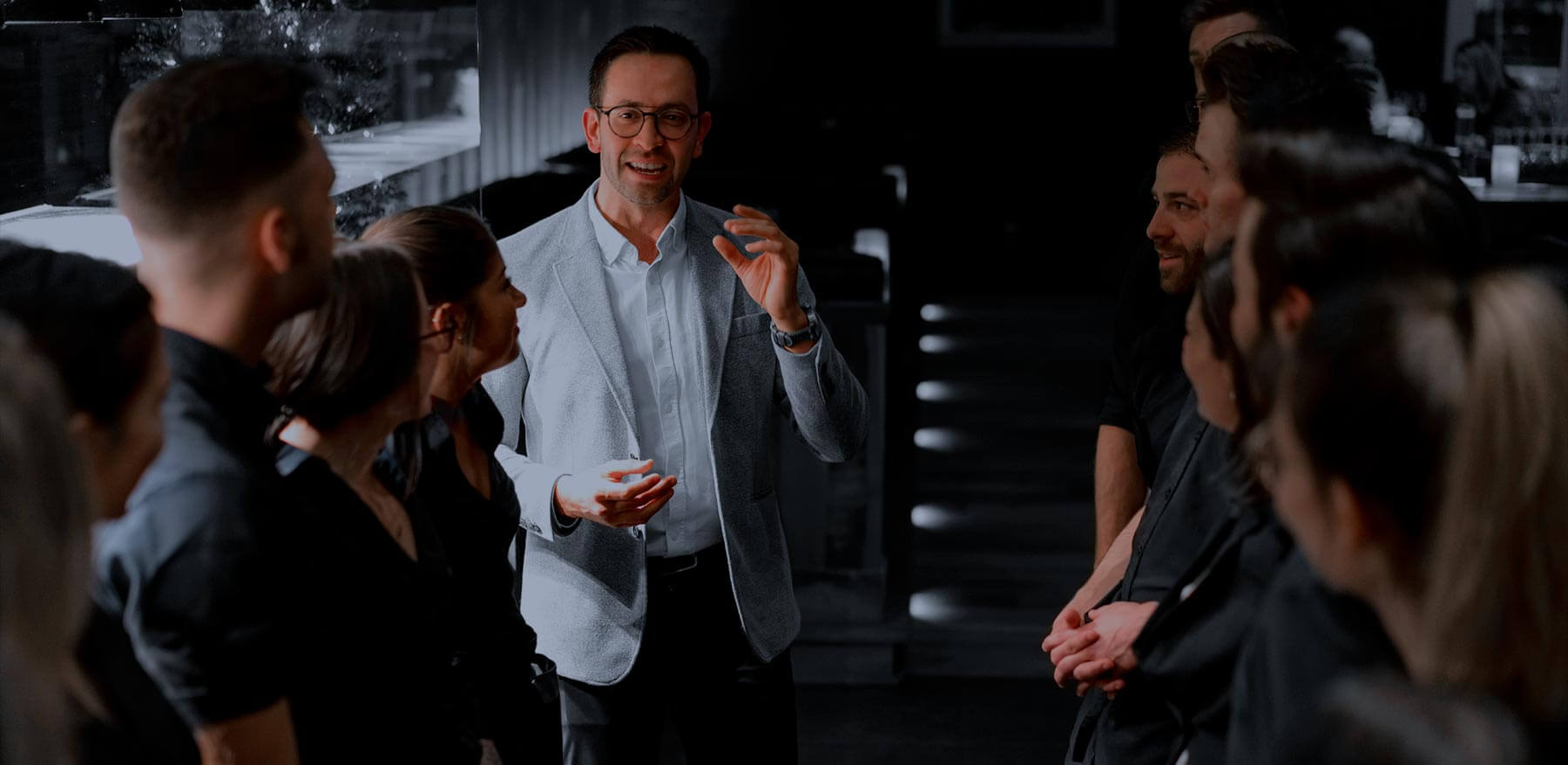 A director chatting with his team