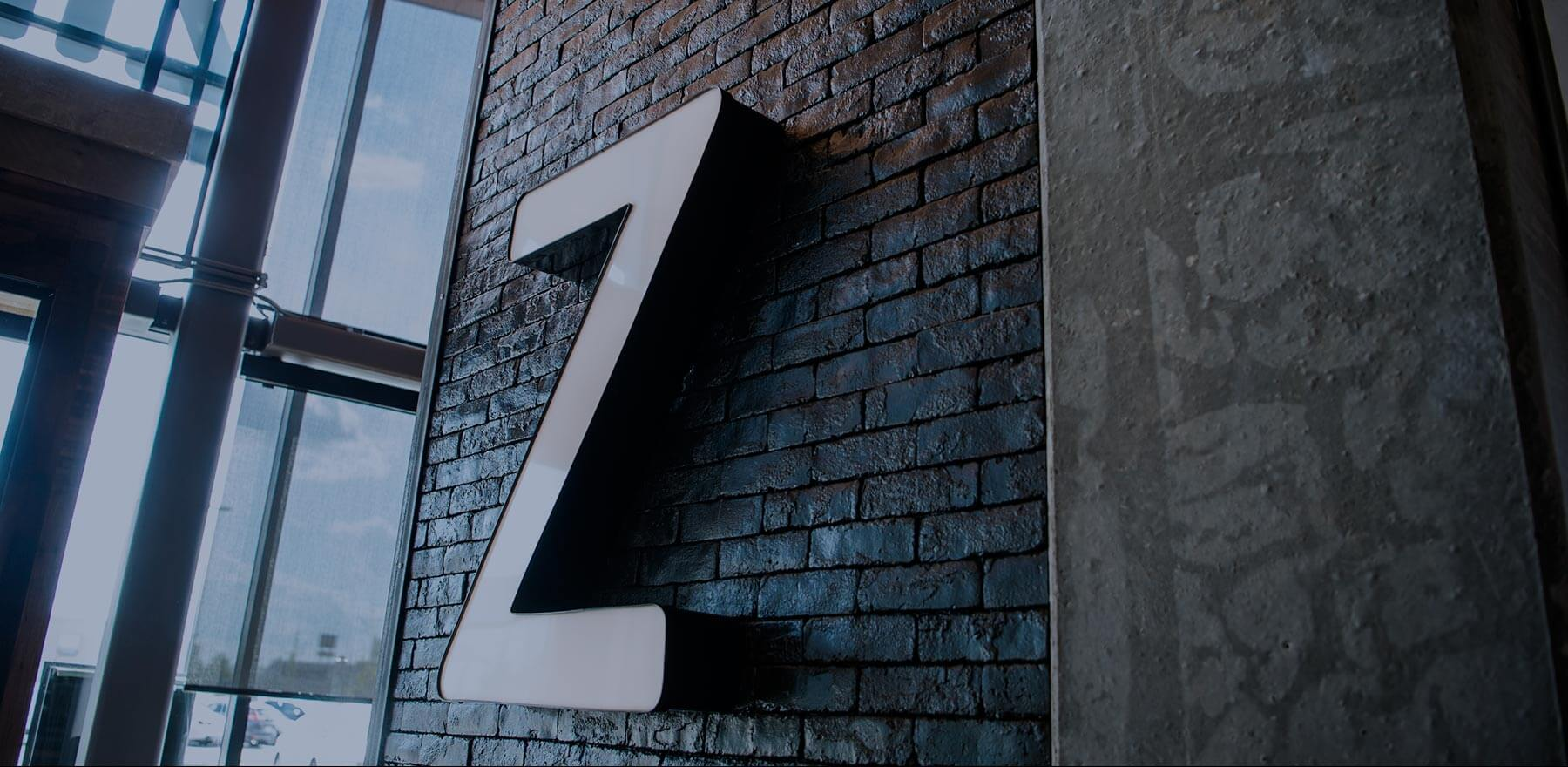 Zibo sign seen from the inside